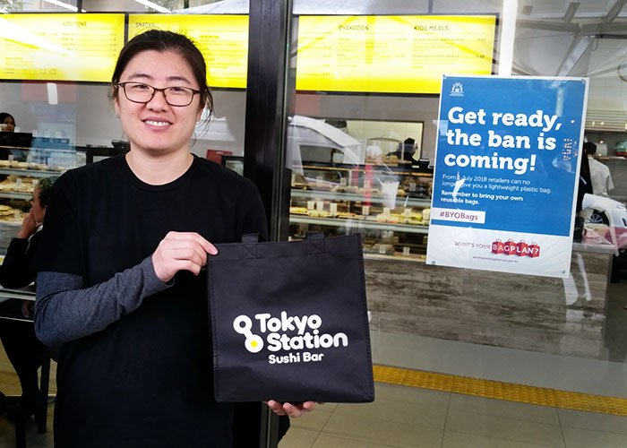 Penny from Tokyo Station shows off their new reusable bag