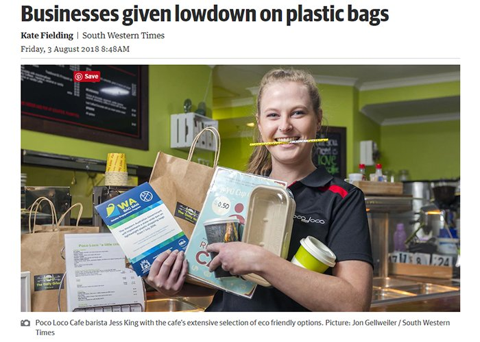Poco Loco Cafe barista Jess King with the cafe's extensive selection of eco friendly options. Picture: Jon Gellweiler / South Western Times